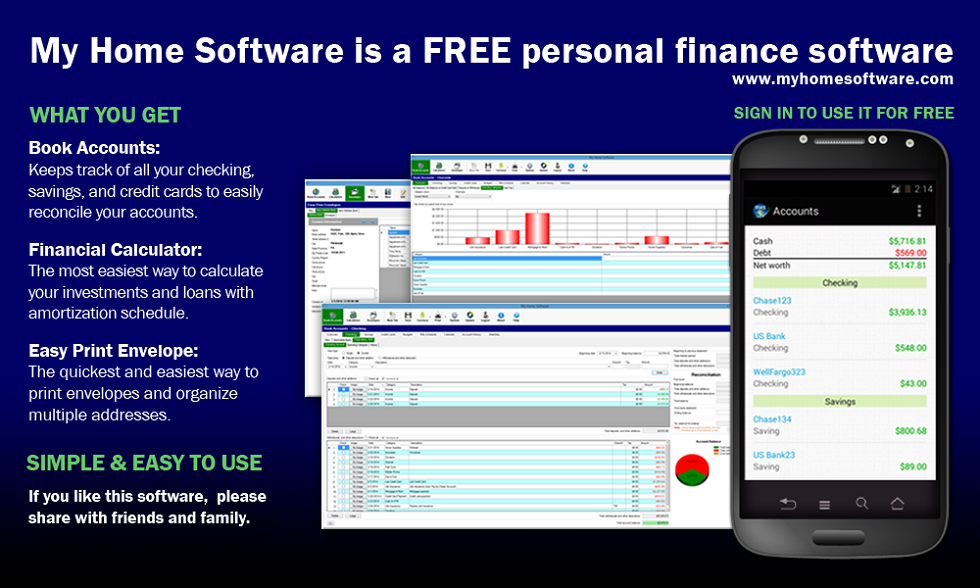 Book Accounts is personal finance management software that keeps track of all your checking, savings and credit cards