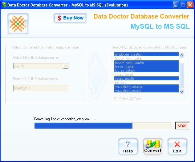 MySQL to MSSQL database conversion software is high speed database conversion software converts large database records quickly and efficiently