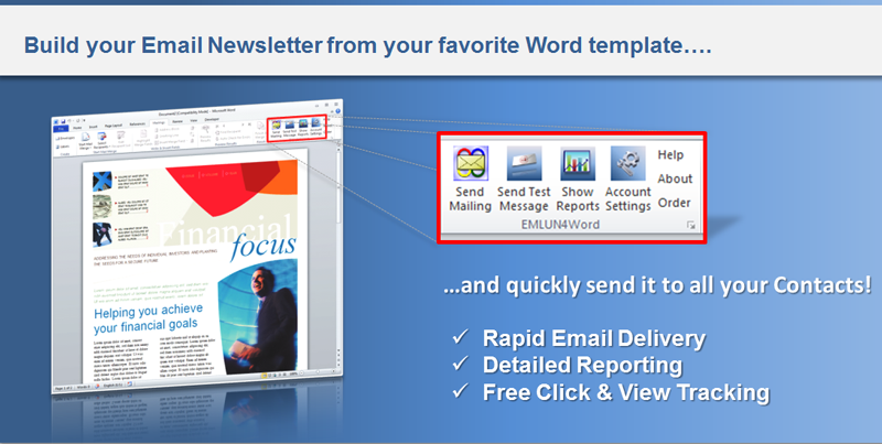 Emlun4Word is a Microsoft Word Add-In that allows you to send your document as a personalized e-mail newsletter to all your customers