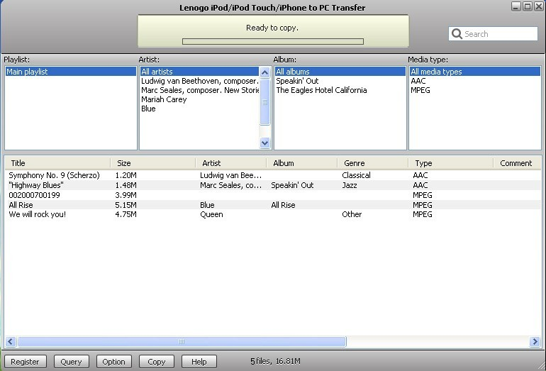 Lenogo iPod/iPod Touch/iPhone to PC Transfer is an ultimate application for transferring songs and videos from an iPod/iPod Touch/iPhone to PC
