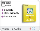 A-one Video To Audio Convertor is a program to extract audio from video files