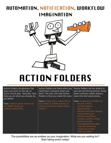 ActionFolders are content-aware folders that allow you to orchestrate tasks based on file events