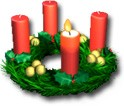 Advent is a green ring with 4 candles on top of it