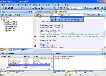 ASP Studio 2005 is a powerful project development tool integrated with ASP code editing and debugging
