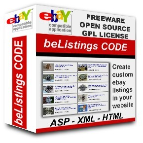 BeListings is a free eBay software open source code ASP and XML, GPL License eBay listing software