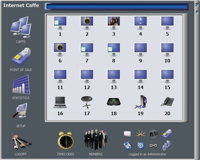 Antamedia Internet Cafe software provides full billing and income control, locks unused computers, generates detailed reports and statistics and supports password protected employee accounts