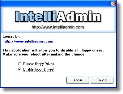 Allows you to easily enable or disable floppy drives on your Windows 2000, 2003, or XP systems - across your LAN