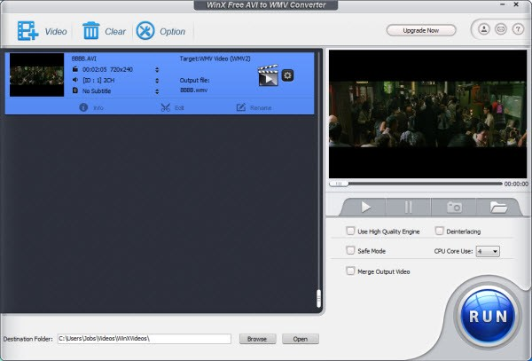 WinX Free AVI to WMV Video Converter