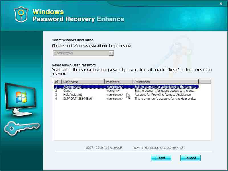 Windows Password Recovery Basic