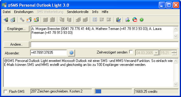 SMS personal Outlook Light 3.0