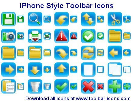 iPhone Style Toolbar Icons closely mimic the original Apple iPhone