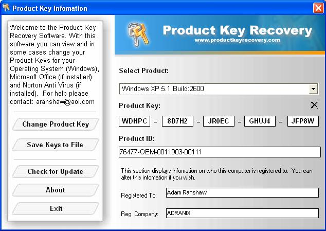 Скриншот Windows and Office Product Key Viewer.
