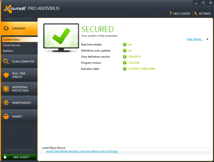 avast! Free Antivirus. Anti-malware Anti-spyware Anti-virus.
